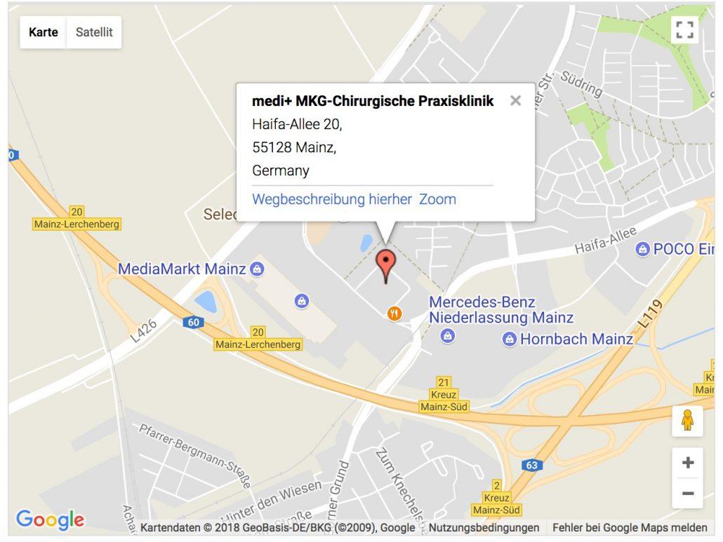 Anfahrt zum MediPlus in Mainz, Haifa-Allee 20, 55128 Mainz